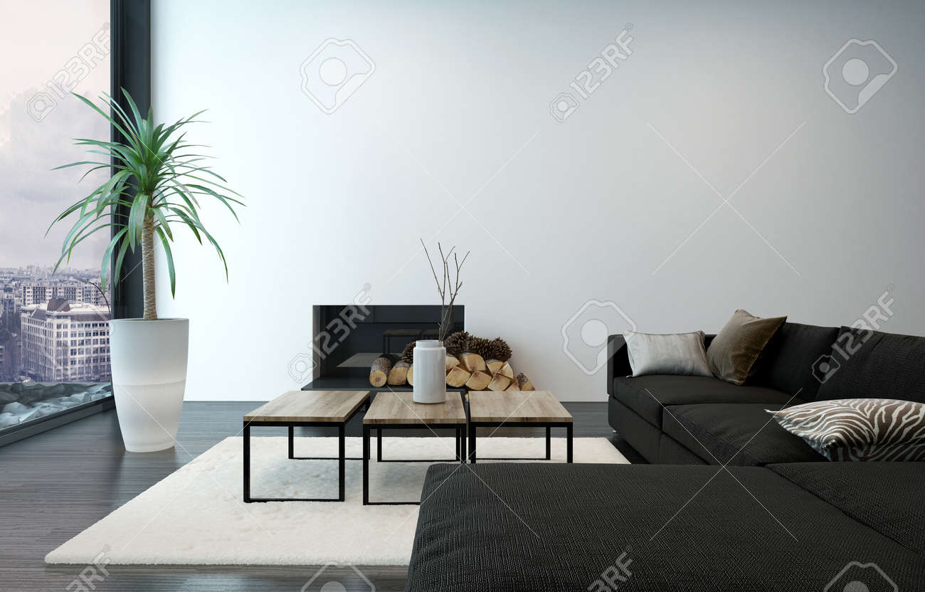 Spacious living room with modern furnishings and floor to ceiling window overlooking urban center 3d