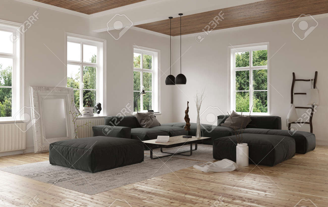 Low Living Room Furniture Low Angle View On Empty Contemporary Living Room With Large Square
