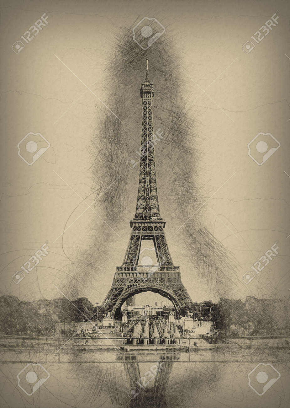 pencil line sketch of historical eiffel tower with shading and