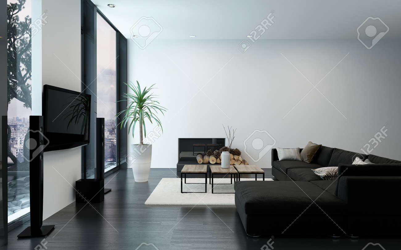 Terrific Modern Luxury Apartment With Fireplace Black Couch And Bare Creativecarmelina Interior Chair Design Creativecarmelinacom
