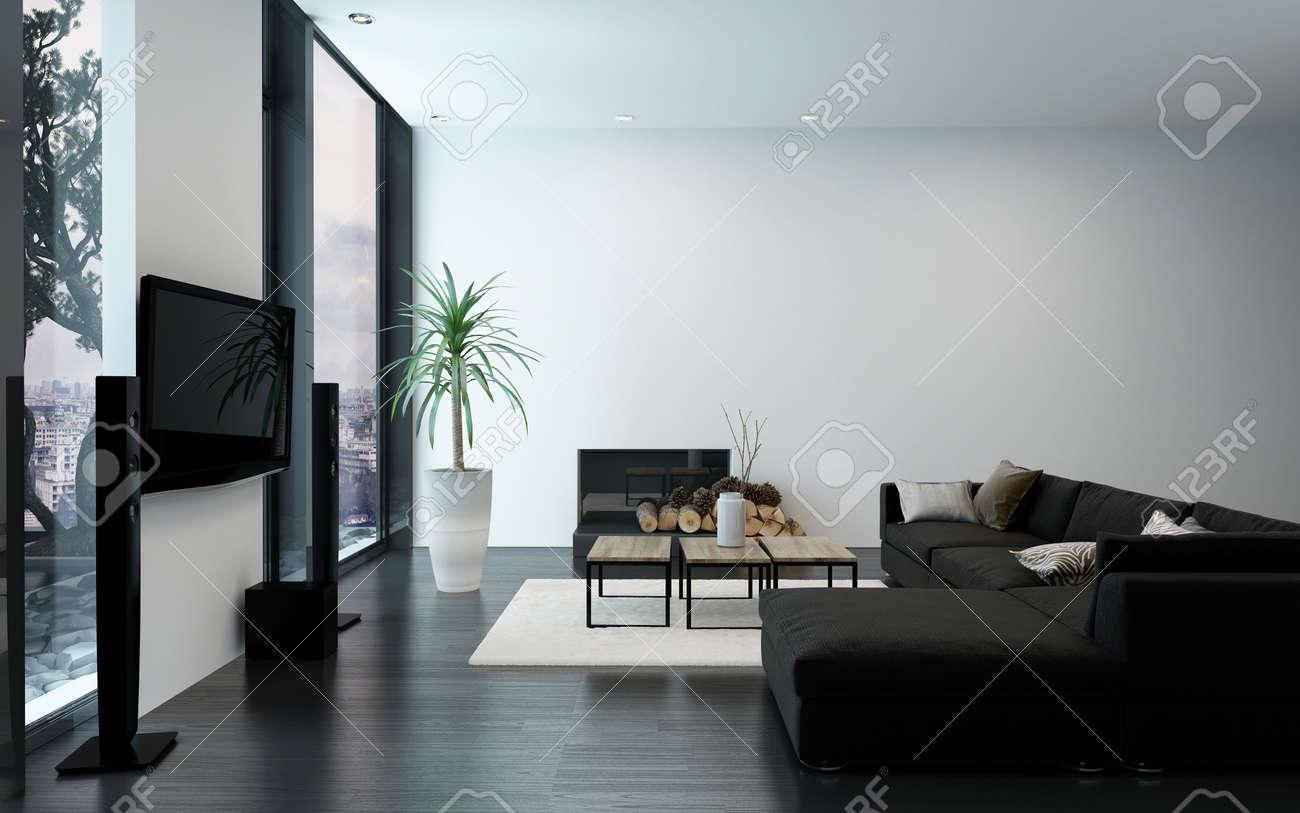 Moderne Luxus Wohnung Mit Kamin, Schwarzen Couch Und Kahlen Weißen Wänden.  3D