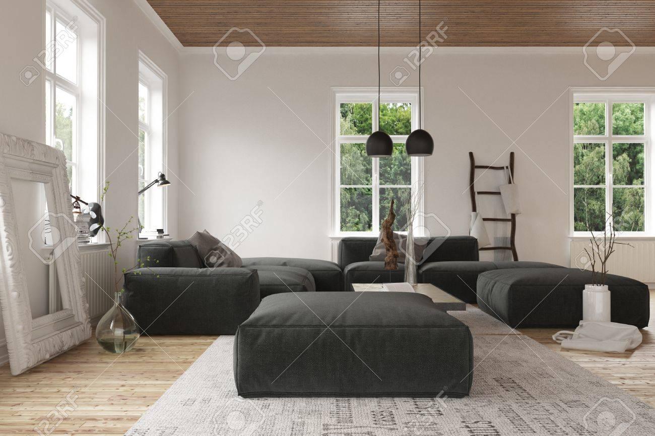 3D-Szene Von Leeren Wohnzimmer Mit Hellem Licht Durch Bloßen ...