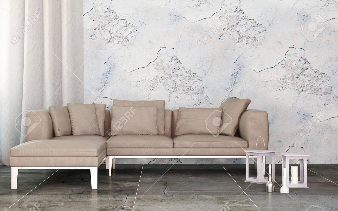 Rendu 3d Dun Salon Moderne Avec Mur De Marbre Et élégant Canapé En