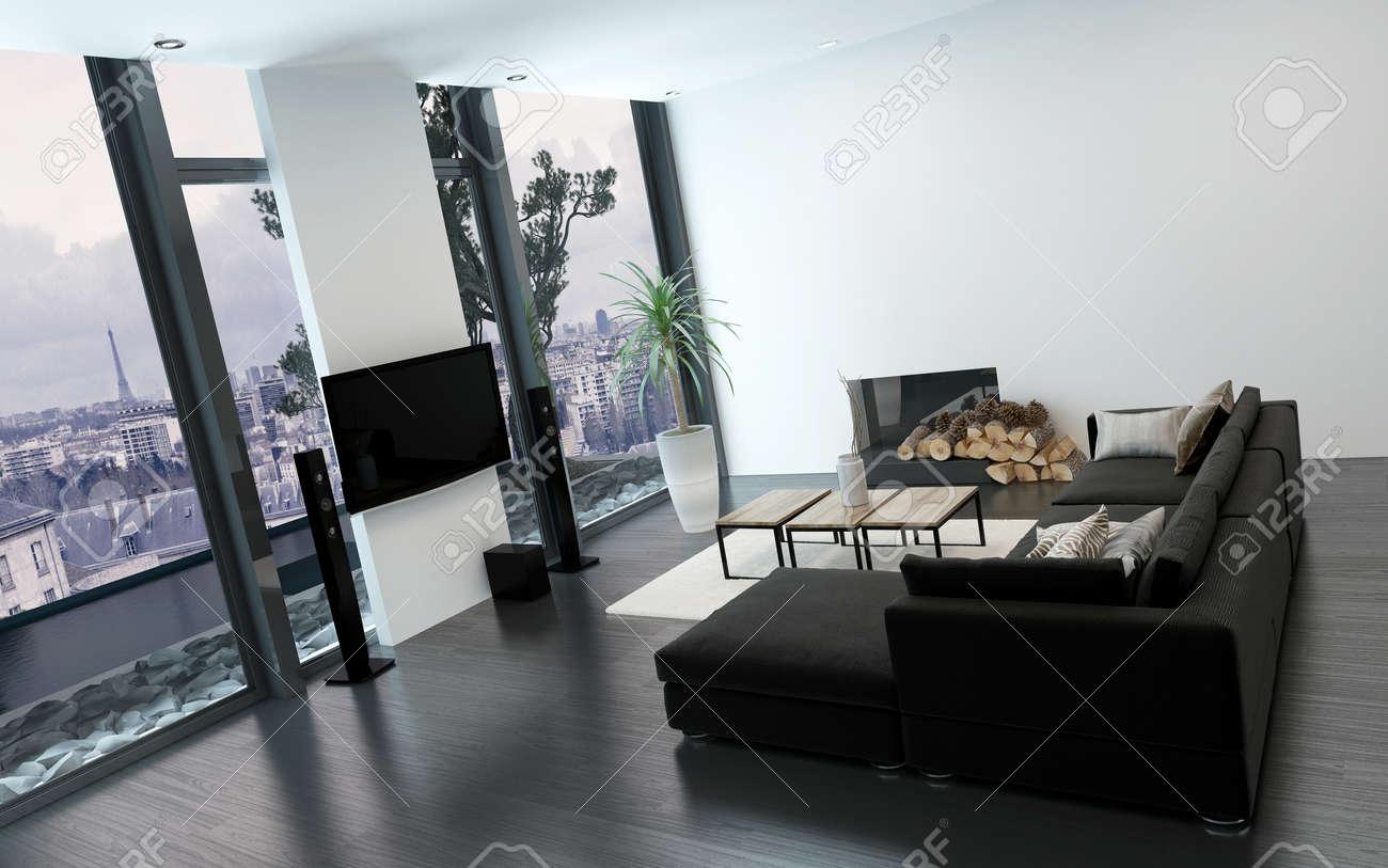 Immagini stock luxuus soggiorno con pavimento al soffitto finestra