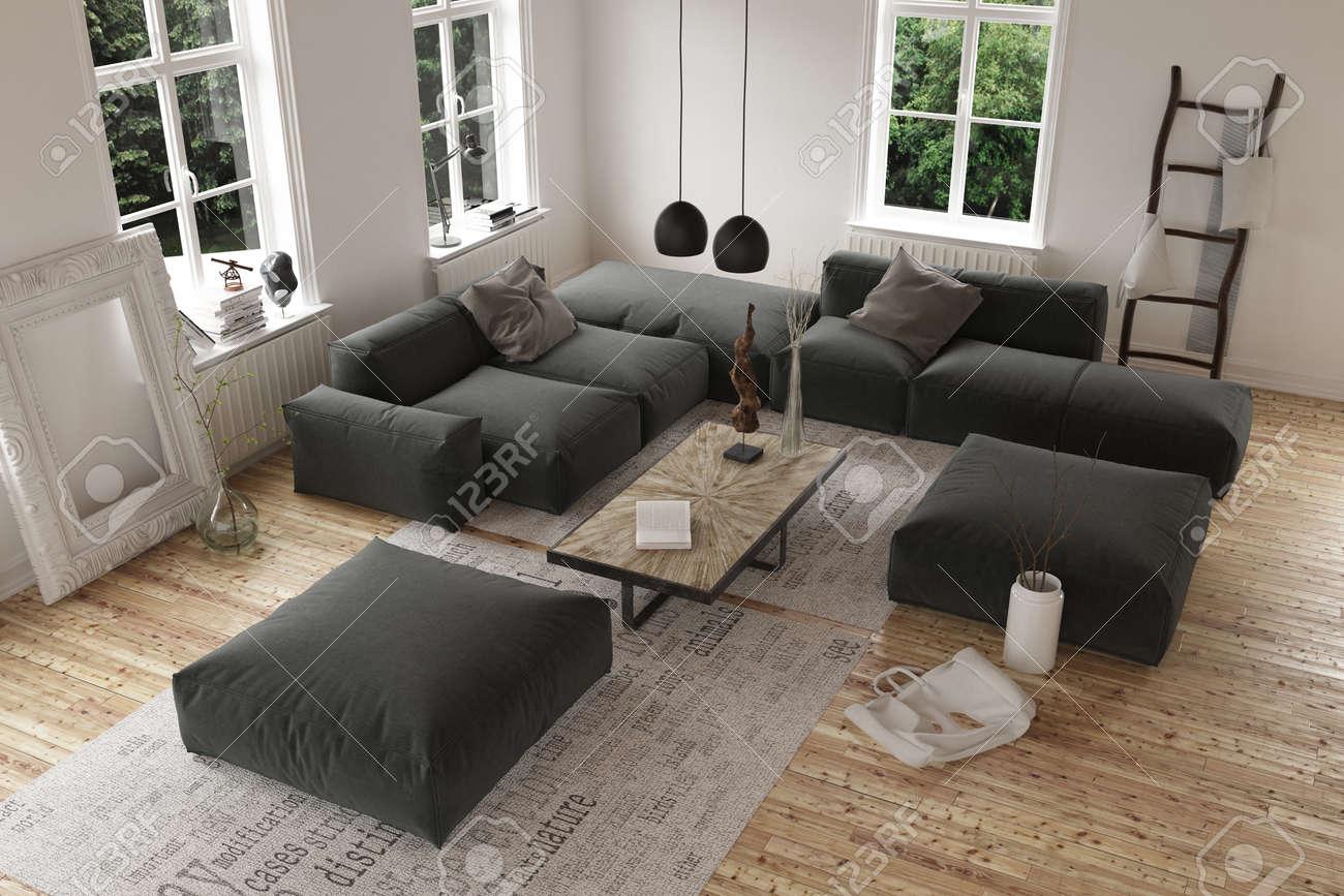 Angle De Vue élevé Sur Vide Salon Contemporain Avec Un Grand Canapé ...