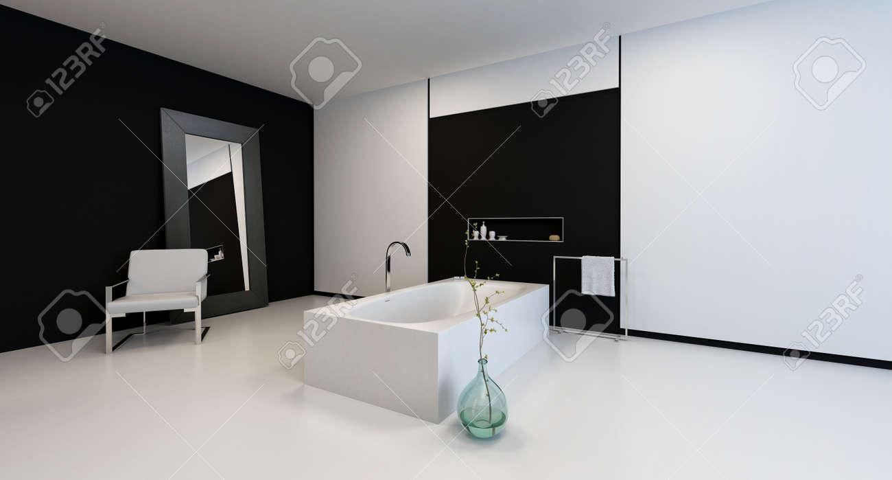 Minimalist Modernen Schwarz Weiß Badezimmer Interieur Mit Einem Stuhl Und  Einen Großen Spiegel