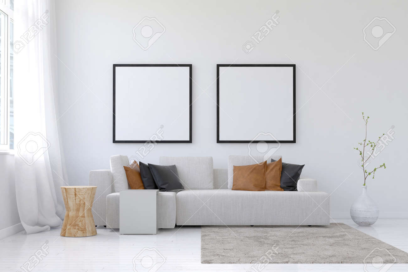 3D rendering of spacious living room scene with sofa, neatly arranged brown pillows, planter, throw rug and pair of square blank picture frames above Standard-Bild - 60566790