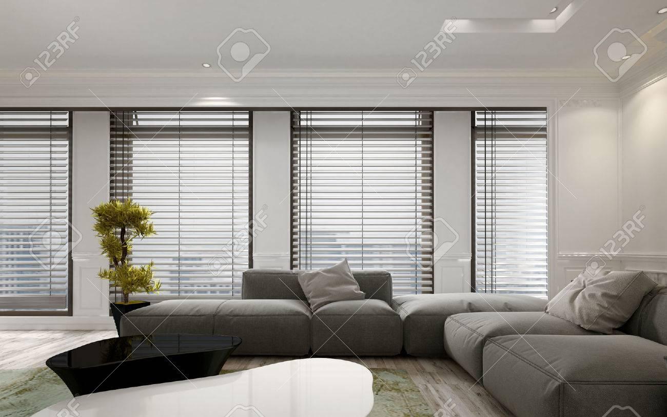 luxus-wohnung wohnzimmer zwischen mit großen boden bis zur decke