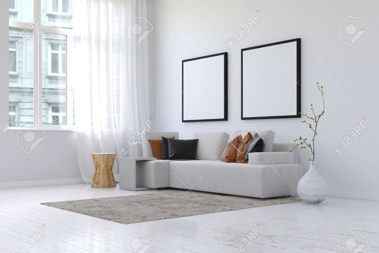 photo 3d rendering of spacious simple living room with neatly arranged sofa and pillows and plant next to
