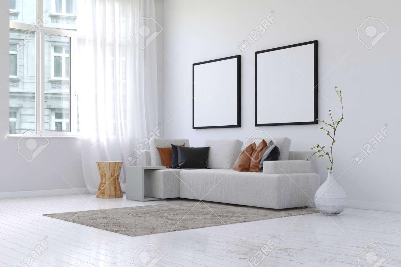 3D-Rendering Von Geräumigen Einfachen Wohnzimmer Mit Ordentlich ...