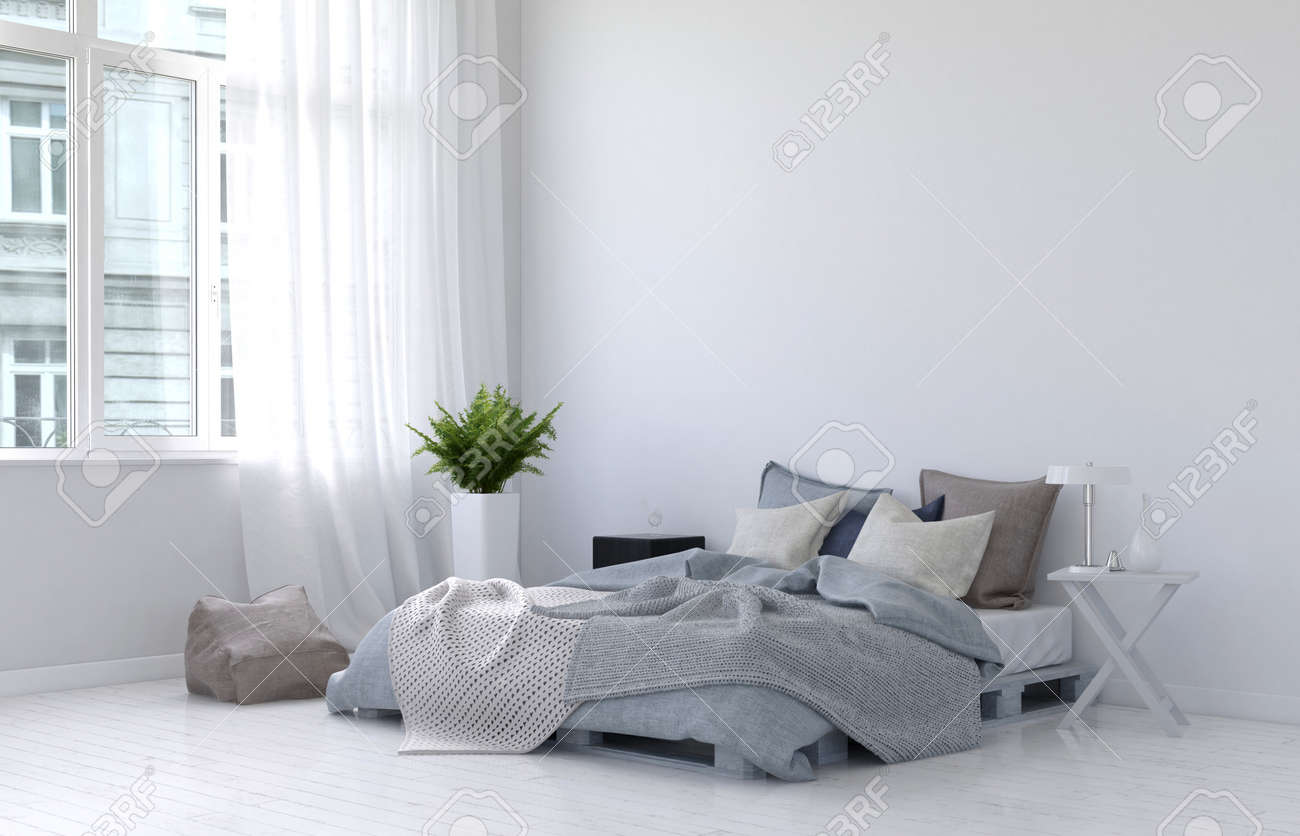 Large casement window with white curtains, fern plant, night stand, lamp and floor cushion beside unmade bed. 3d Rendering. Standard-Bild - 60635586
