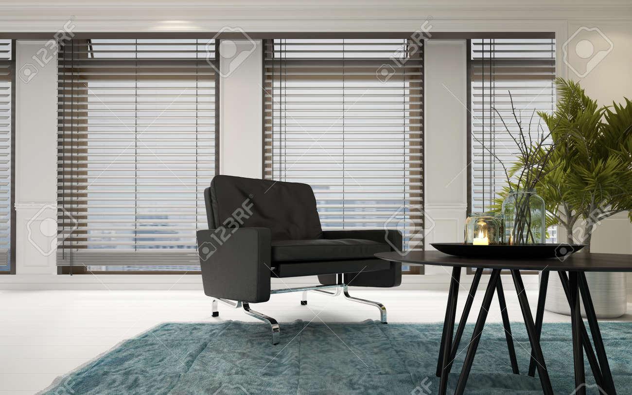 Moderne Polster Chrom Sessel In Einem Geräumigen Hellen Wohnzimmer Inter  Mit Einem Couchtisch Mit Zimmerpflanzen