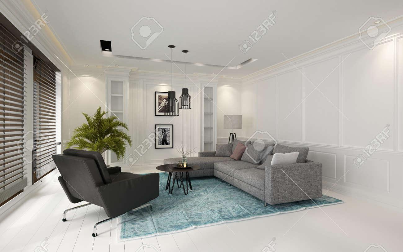 Modern Gezellig Interieur : Gezellige moderne witte woonkamer interieur met grote ramen bedekt