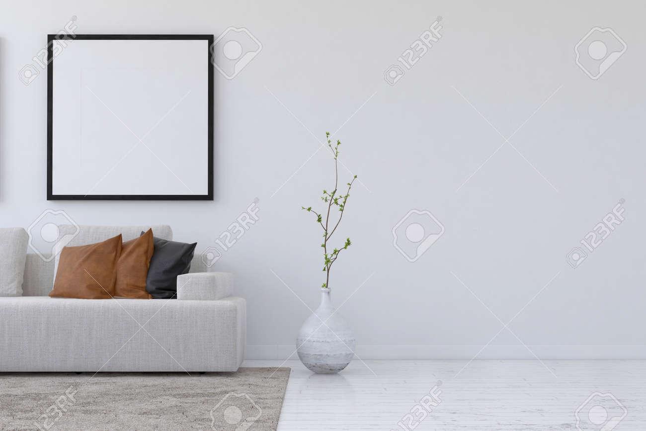 Cadre Au Dessus Du Canapé droit sur le rendu 3d de salon simple avec canapé et plante sous vide cadre  photo carré et le mur avec copie espace