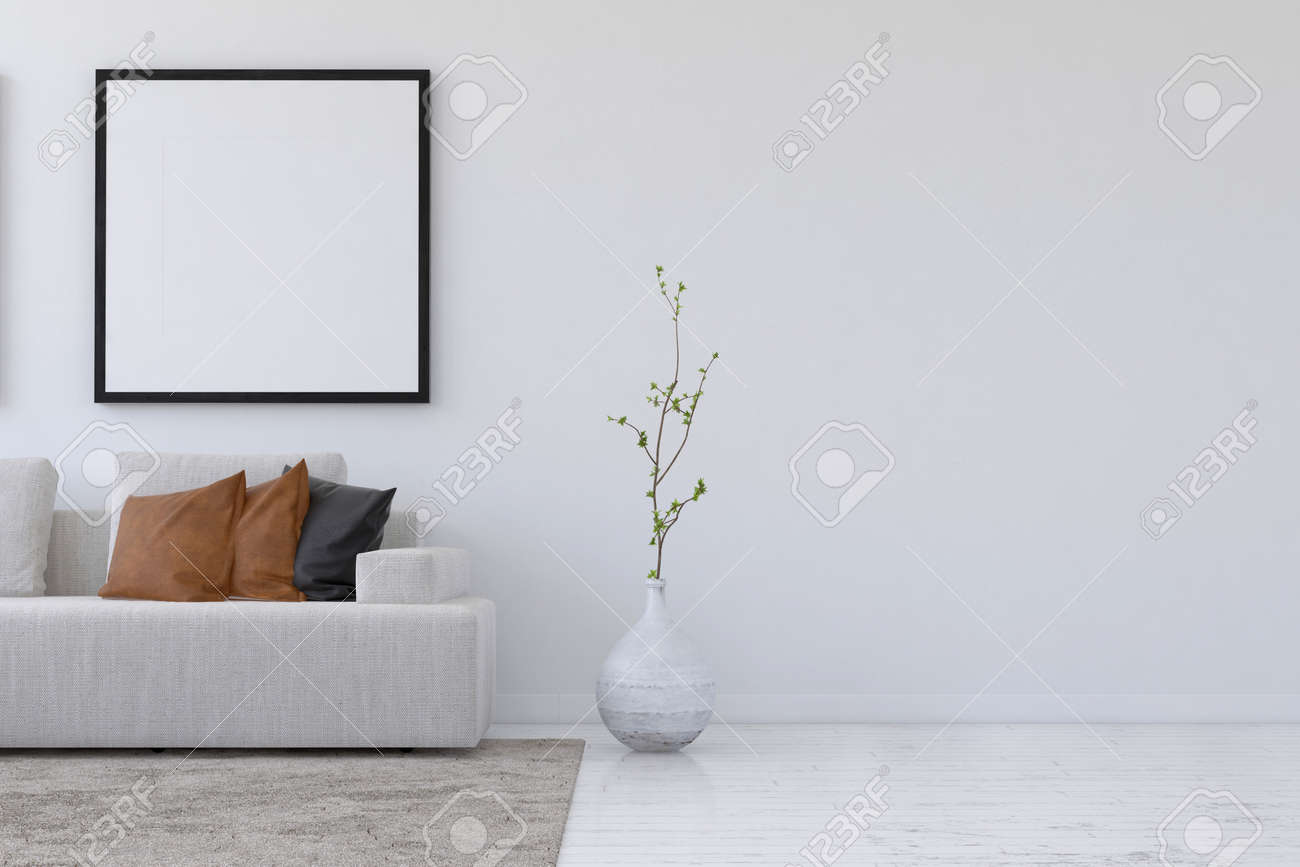 photo straight on 3d rendering of simple living room with sofa and plant underneath blank square picture f
