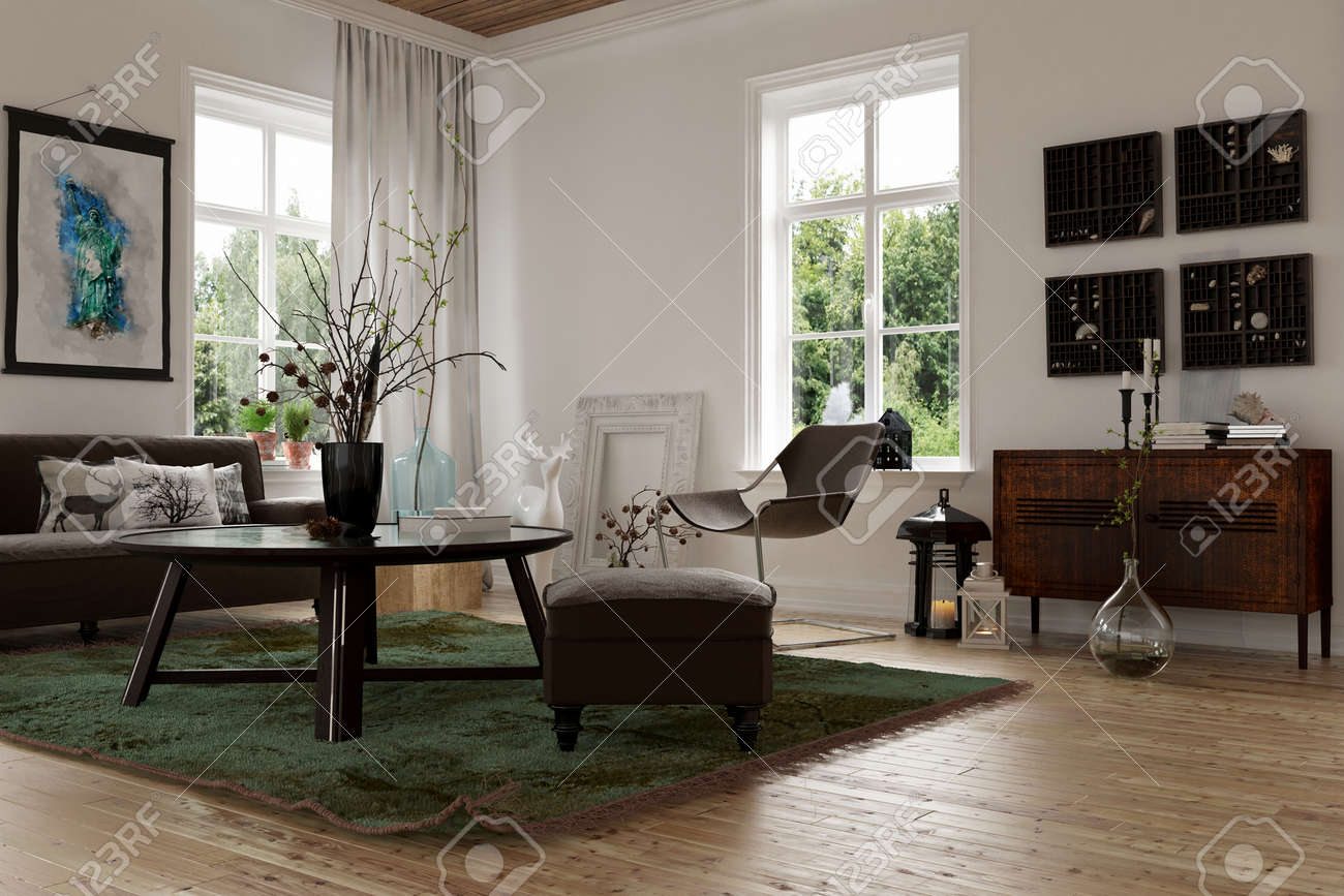 wohnzimmer modern loft : 3d Rendering Of A Modern Living Corner In A Converted Loft With A