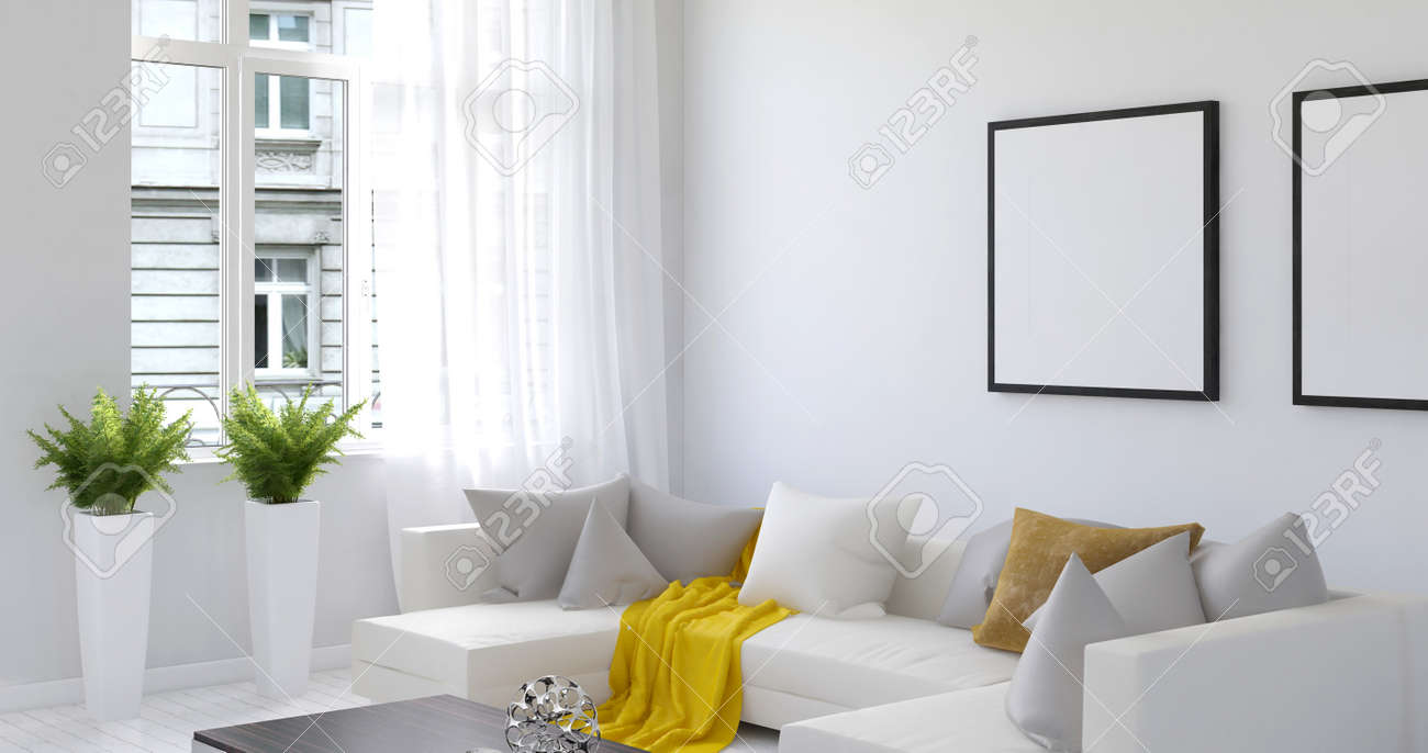 Tranquil 3D Rendering Of Beautiful Living Room With White Walls ...