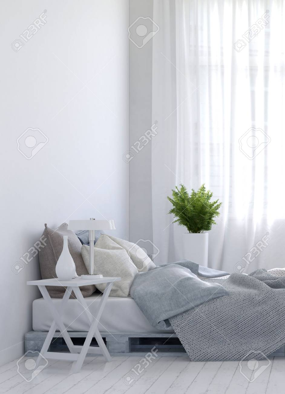 Night stand and fern plant on either side of empty unmade bed over hardwood white floor for home scene. 3d Rendering. - 60638156