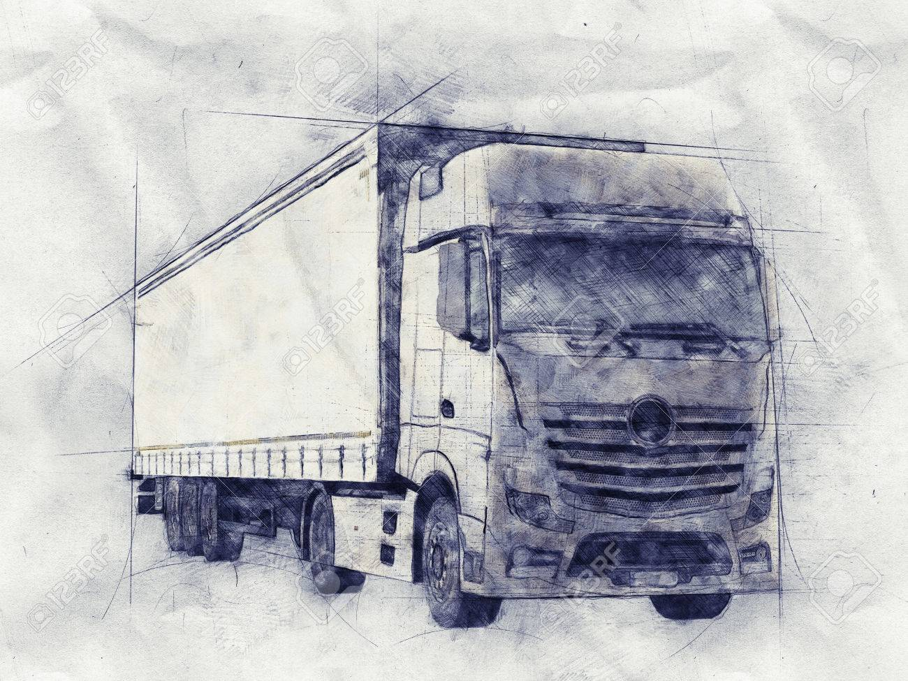 Pencil Sketch Of A Long Distance Transport Or Haulage Truck On