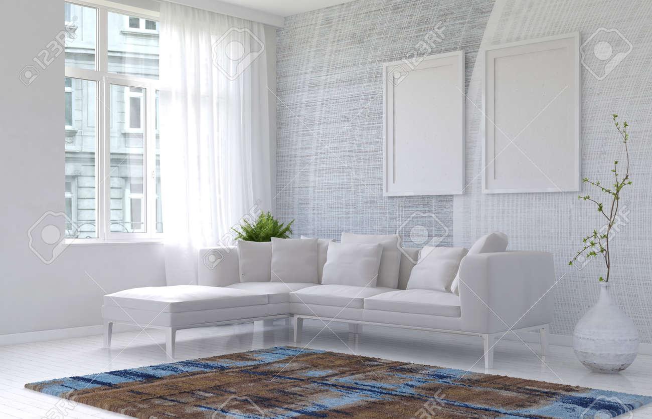 Intérieur de salon moderne blanc lumineux dans un appartement avec un  canapé d\'angle modulaire avec deux cadres vierges sur le mur et une fenêtre  ...
