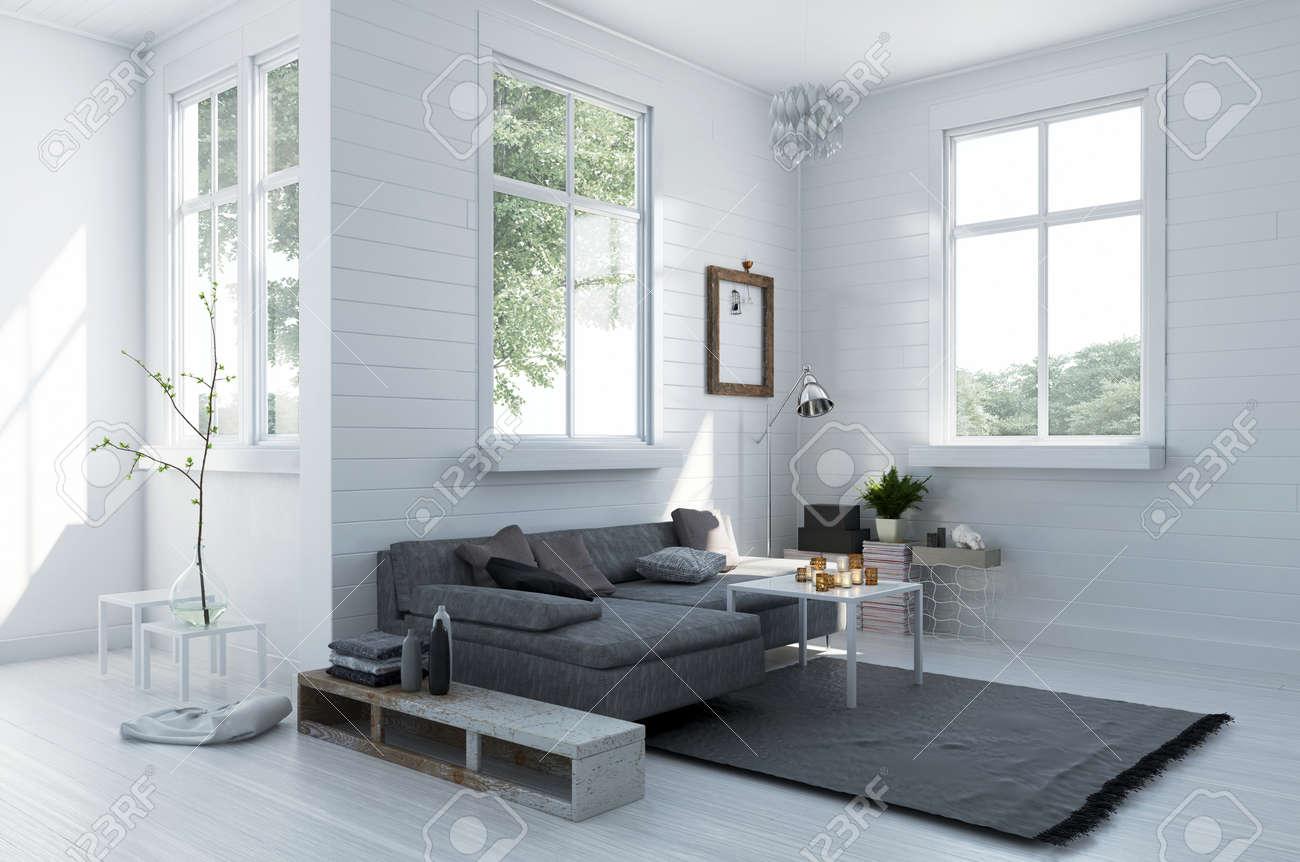 Gemutliche Ecke In Einer Eleganten Weissen Wohnzimmer Mit Einem