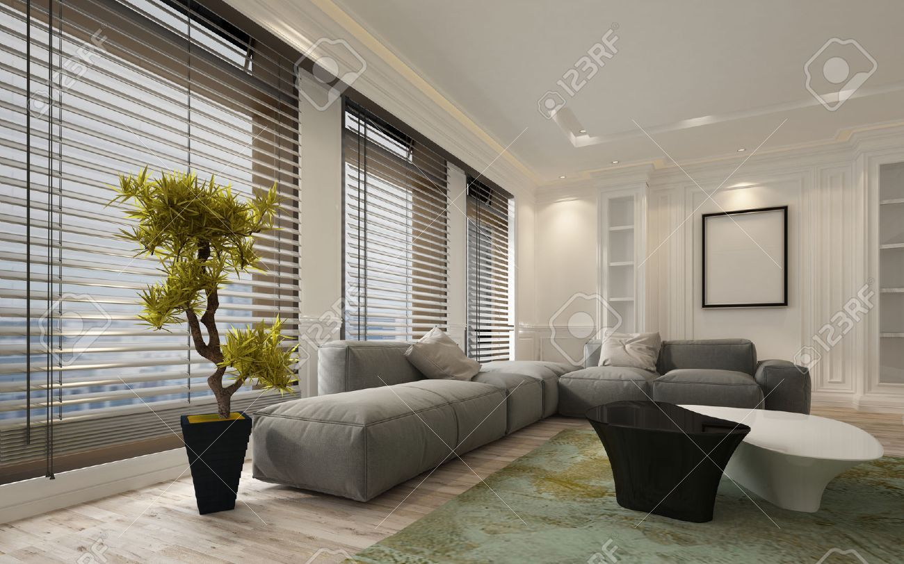 fancy apartment living room interior with large floor to ceiling window blinds and soft gray modular