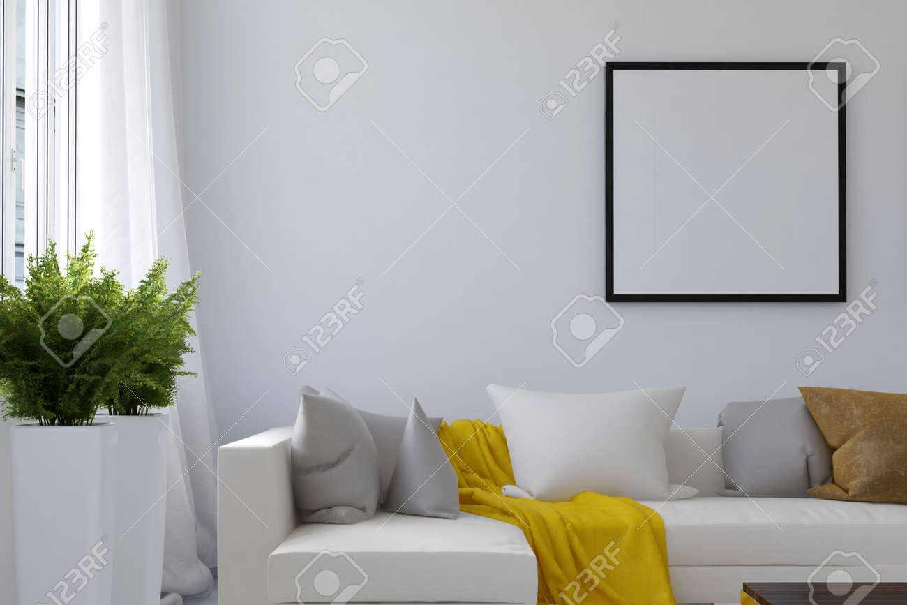 Living room scene with blank picture frame and long white sofa with loose yellow blanket between pillows and houseplants near window. 3d Rendering. - 60638991