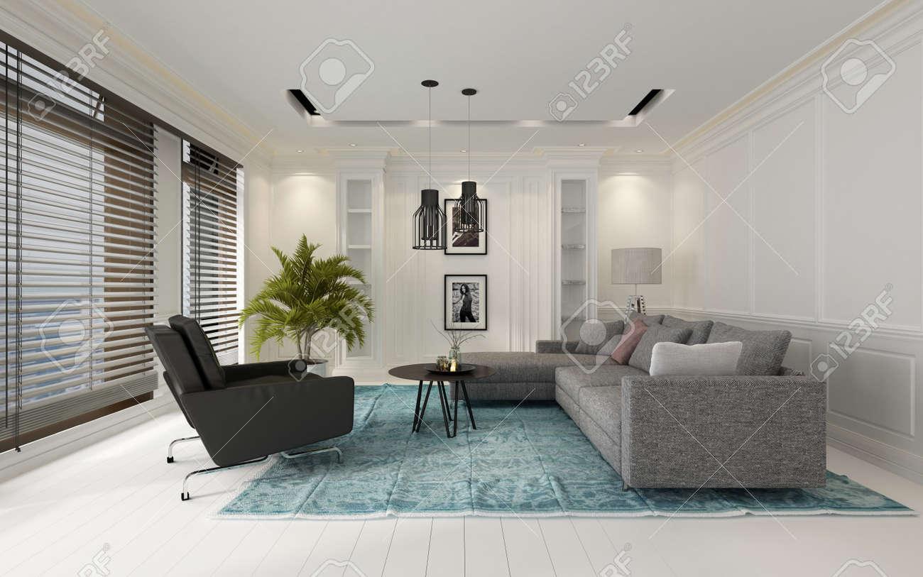 Intérieur blanc salon moderne confortable avec un canapé et des chaises sur  un tapis bleu sur un plancher de bois franc dominé par de grandes fenêtres  ...