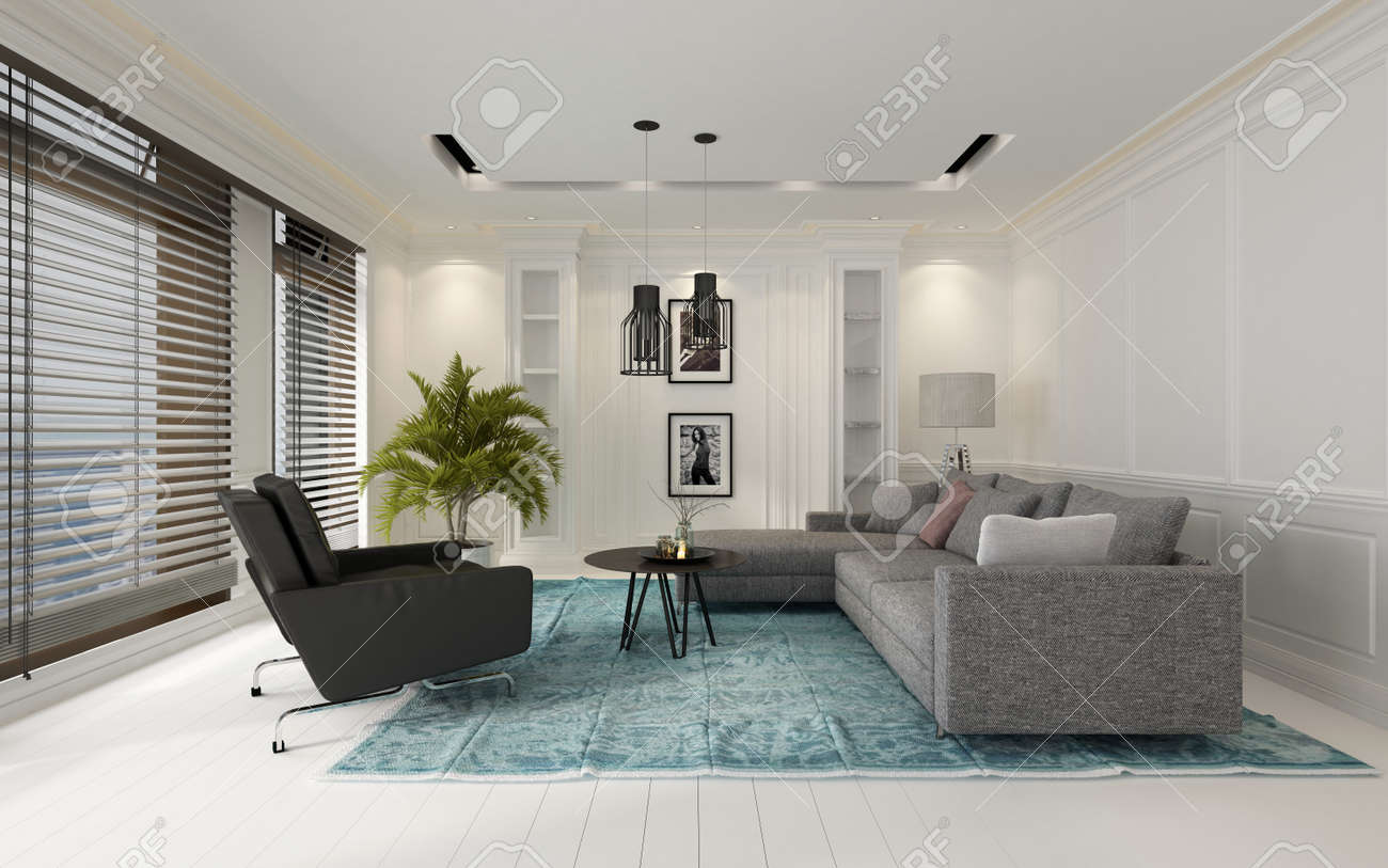 Komfortable Und Moderne Weiß Wohnzimmer Innenraum Mit Einem Sofa Und Stühle  Auf Einem Blauen Teppich Auf