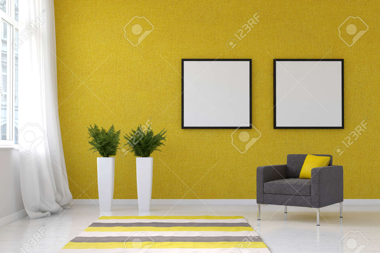 Bright Living Room With Striped Throw Rug, Pai. 3d Rendering. Stock ...