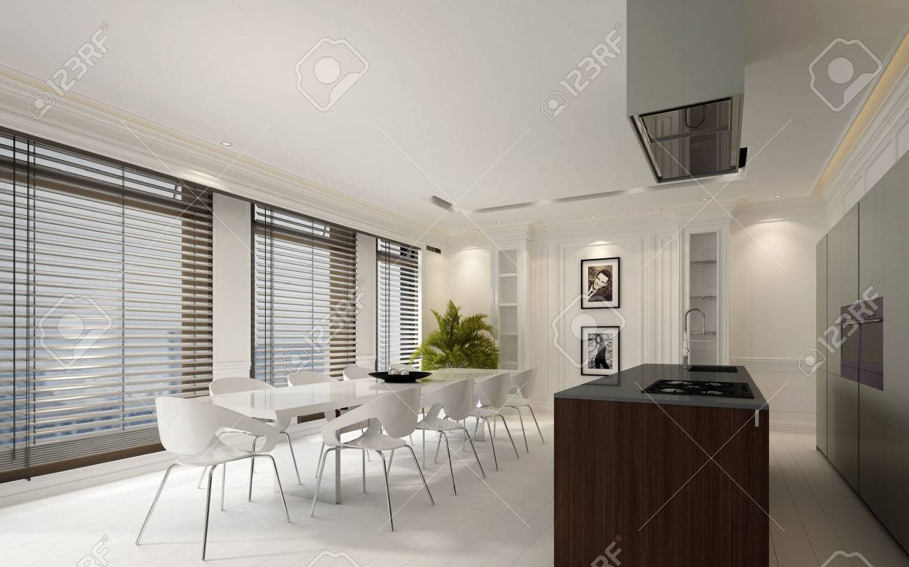 Elegant Dining Room Interior With White Decor, Large Windows With Blinds  And An Open Plan