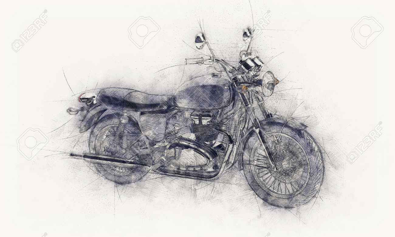 Rough pencil sketch of a motorbike with guide lines and grey smudge or painterly effect on