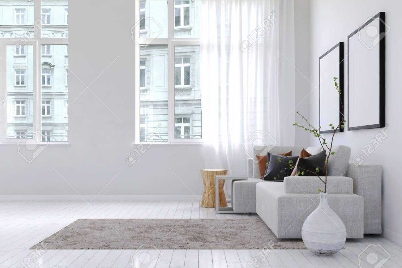 View Of Buildings From Inside Spacious White Living Room With ...