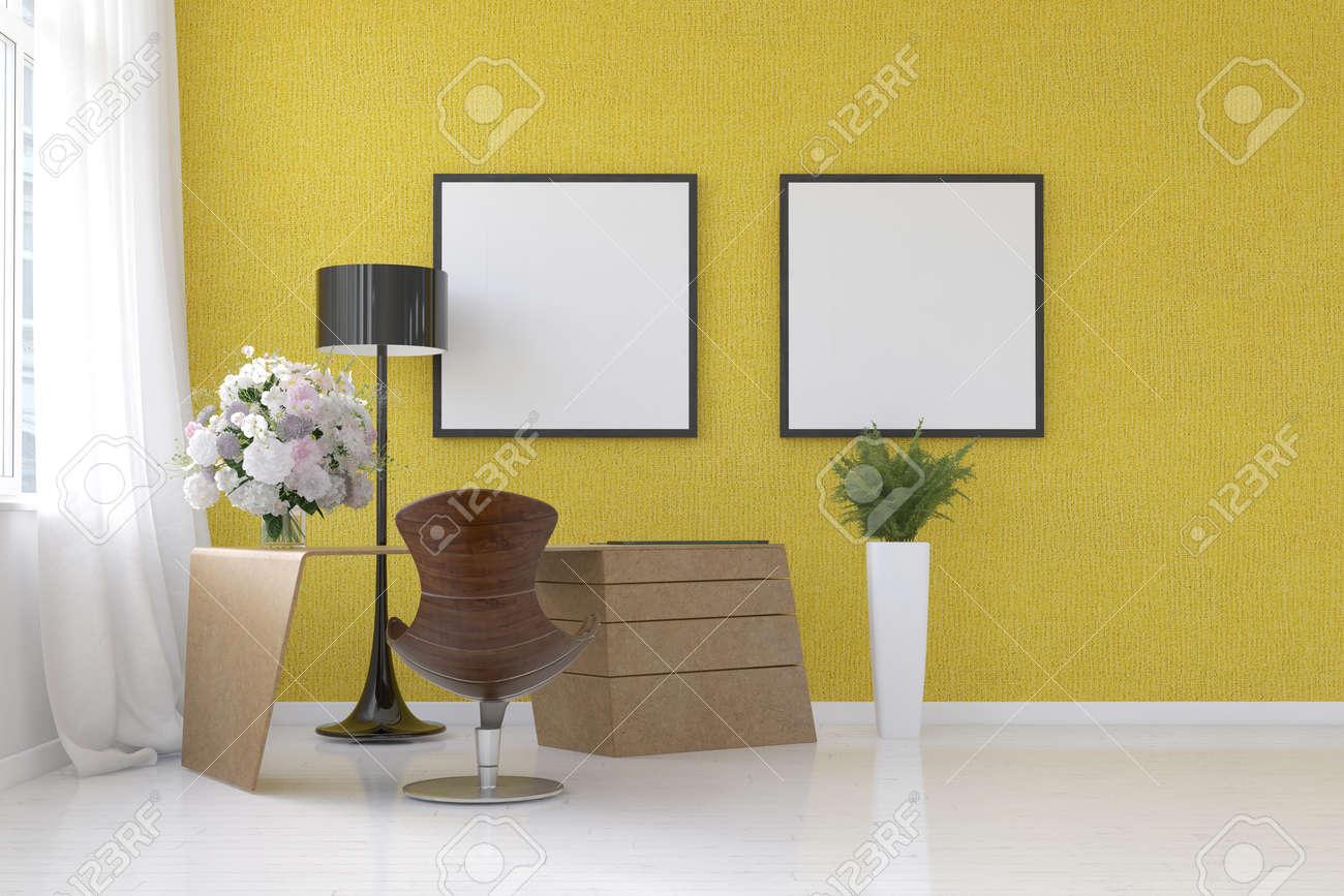 Moderna Sala De Estar Amarillo Interior Con Marcos En Blanco En La ...