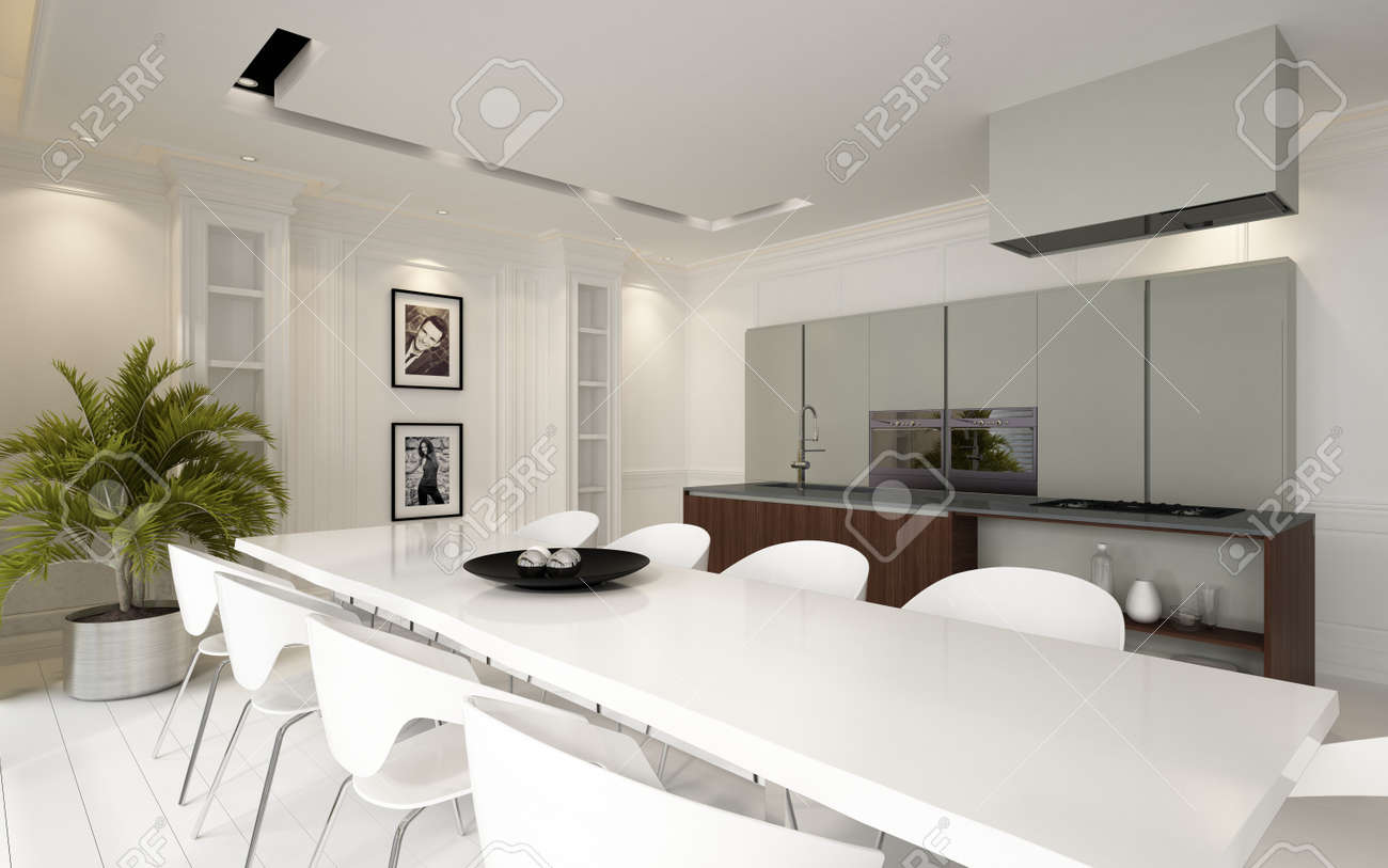 Modern luxury open plan dining room kitchen living area with