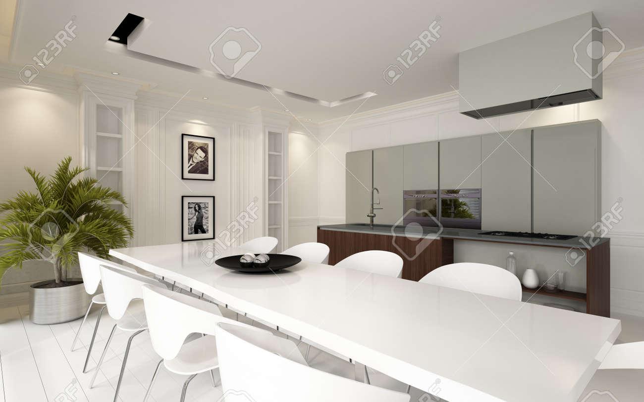 Moderno salotto open space sala da pranzo cucina abitabile con unità e  elettrodomestici montati e un elegante tavolo bianco e sedie illuminato da  luci ...