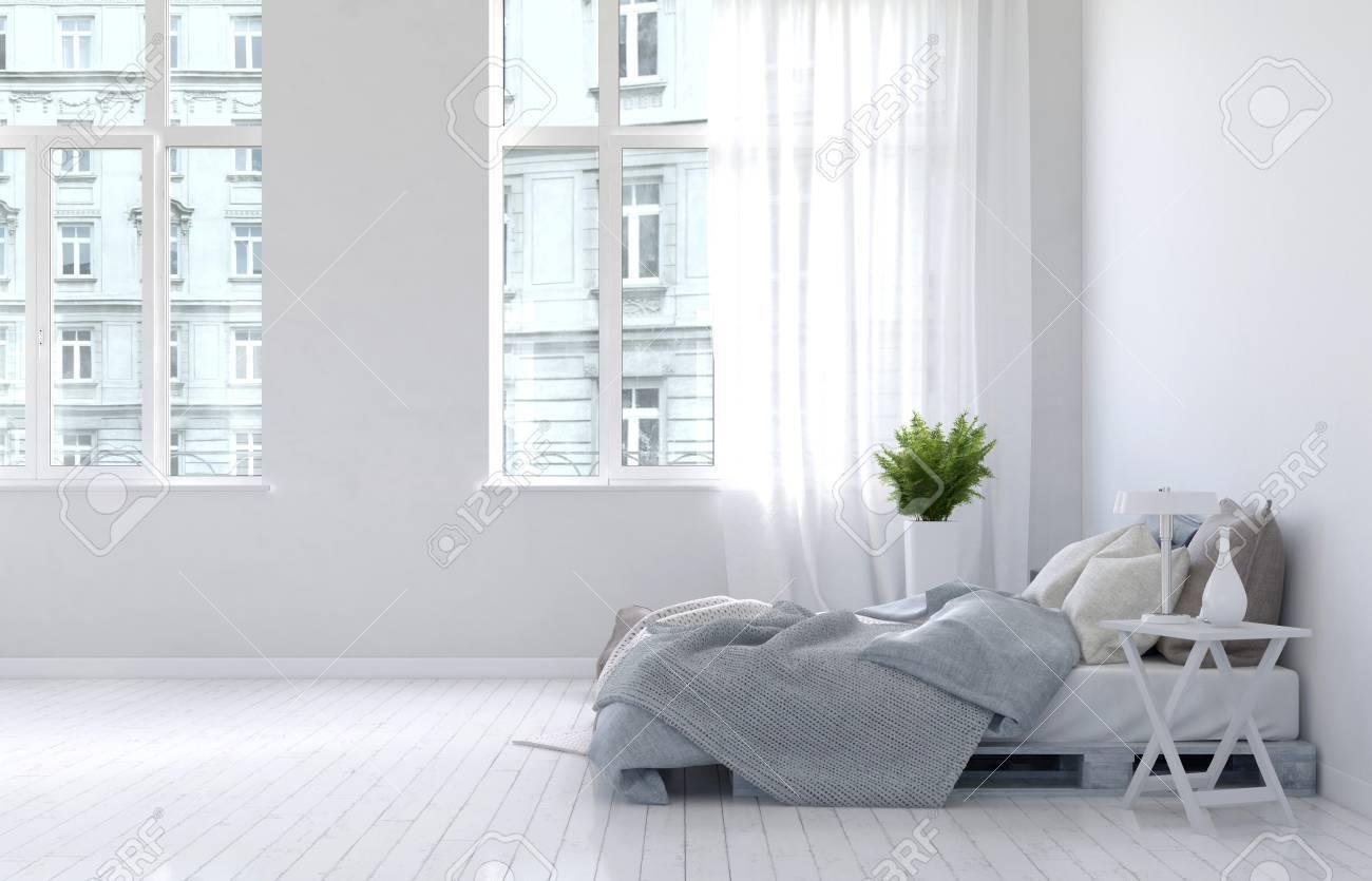 3D Rendering Von Ungemachtes Bett Mit Grauen Decken In Spärlich Dekoriert  Schlafzimmer Interieur Mit Holzboden