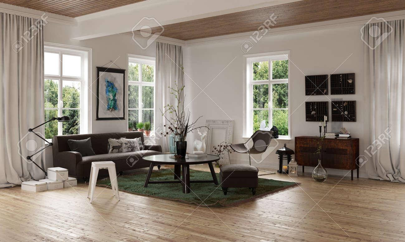 Komfortables Gemütliches Wohnzimmer Ecke In Einem Offenen Loft ...