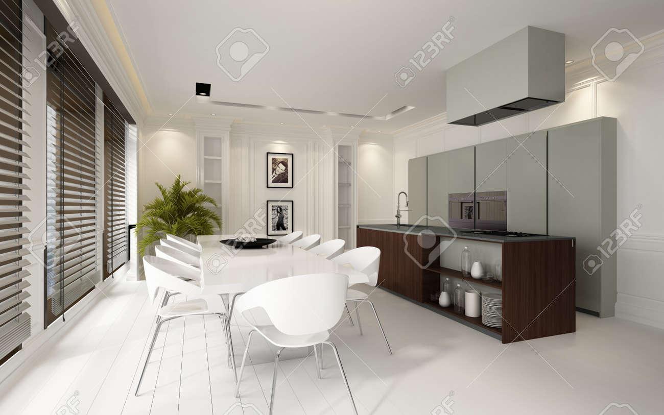 Tende Sala E Cucina elegante sala bianca di lusso e zona cucina in una residenza lussuosa con  costruito in unità e elettrodomestici e pavimenti in parquet trascurati da