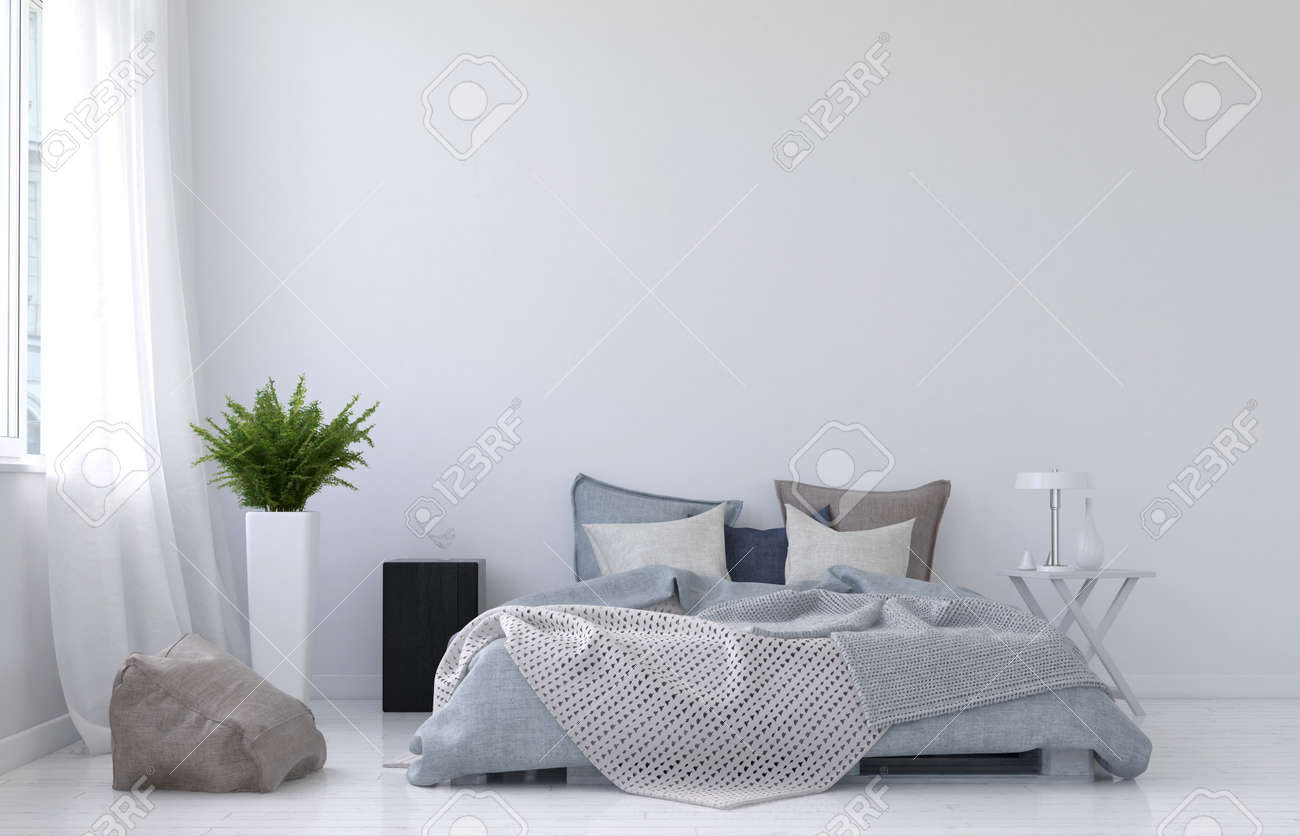 Large blank wall with white curtains, fern plant, night stand, lamp and floor cushion beside unmade bed and nobody in it. 3d Rendering. Standard-Bild - 60643749