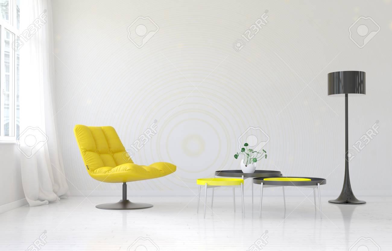Geraumige Luxus Wohnzimmer Innenraum Mit Leeren Wand Hinter Weichen