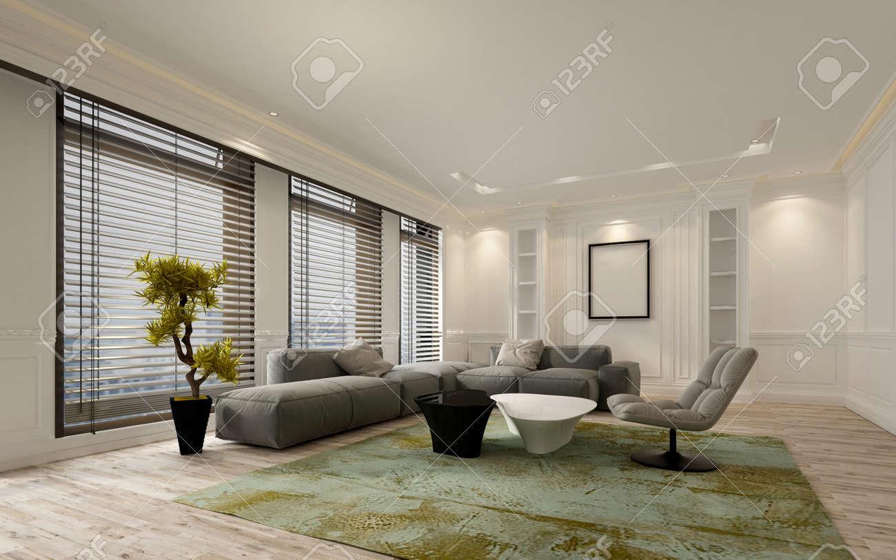 Fancy Appartement Woonkamer Interieur Met Grote Ramen Van Vloer Tot ...