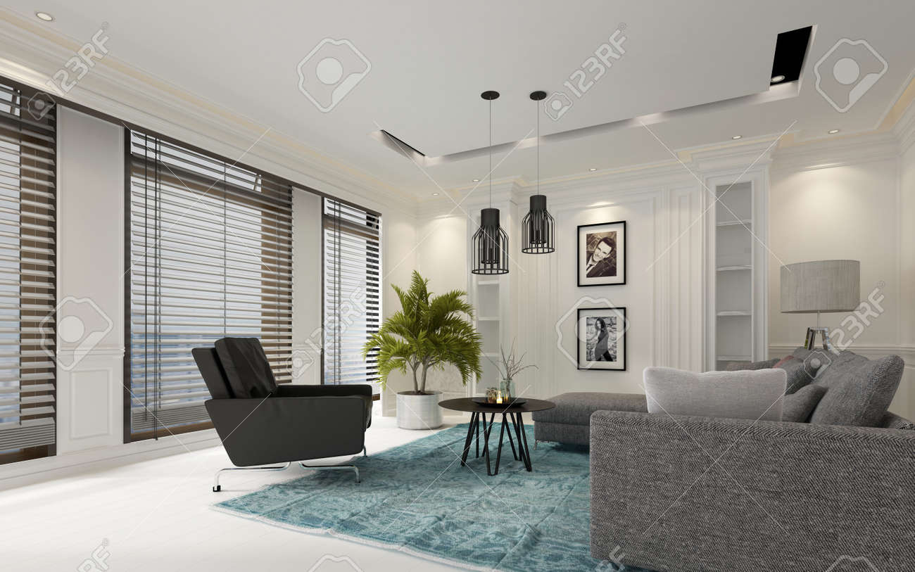 Modern White Luxury Living Room With Window Blinds On A Row Of Large Windows Comfortable