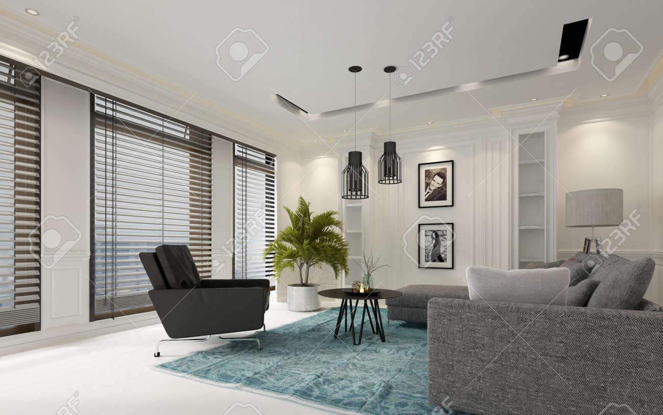 Moderne Weiße Luxus Wohnzimmer Mit Jalousien Auf Einer Reihe Von Großen  Fenstern, Bequemen Grauen