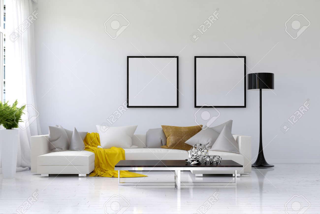 Lebte In Geraumigen Wohnzimmer Mit Weissen Wanden Grossen Sofa Und