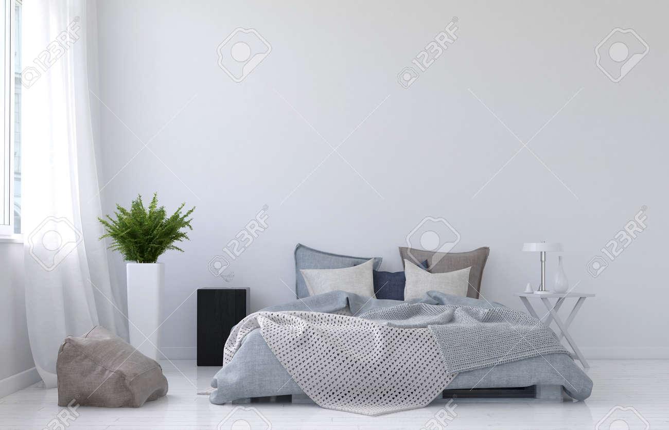 Moderne minimalistische witte slaapkamer inter met een ...