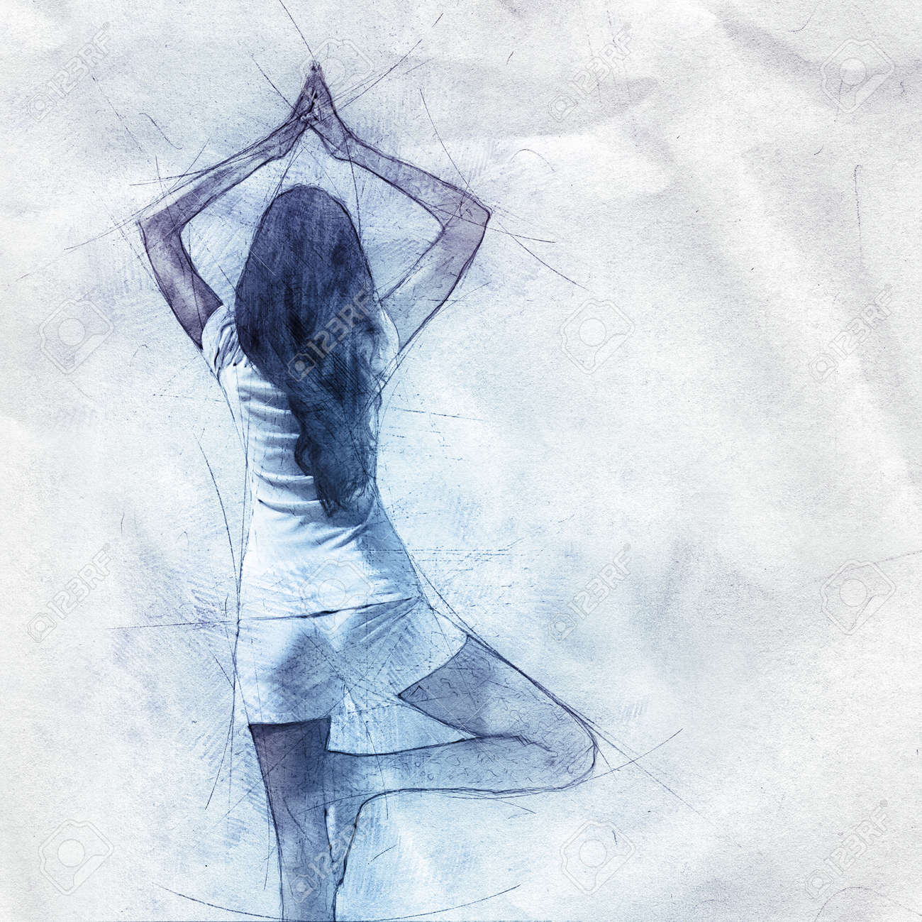 Outline drawing pencil sketch of a woman doing yoga standing