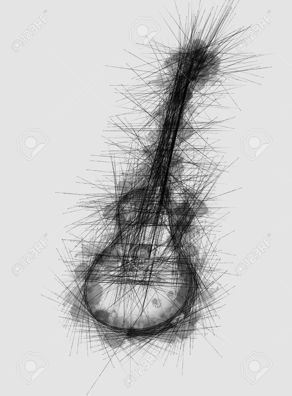 Grunge textured monochromatic pencil drawing or sketch of a guitar with blotched ink effect on light