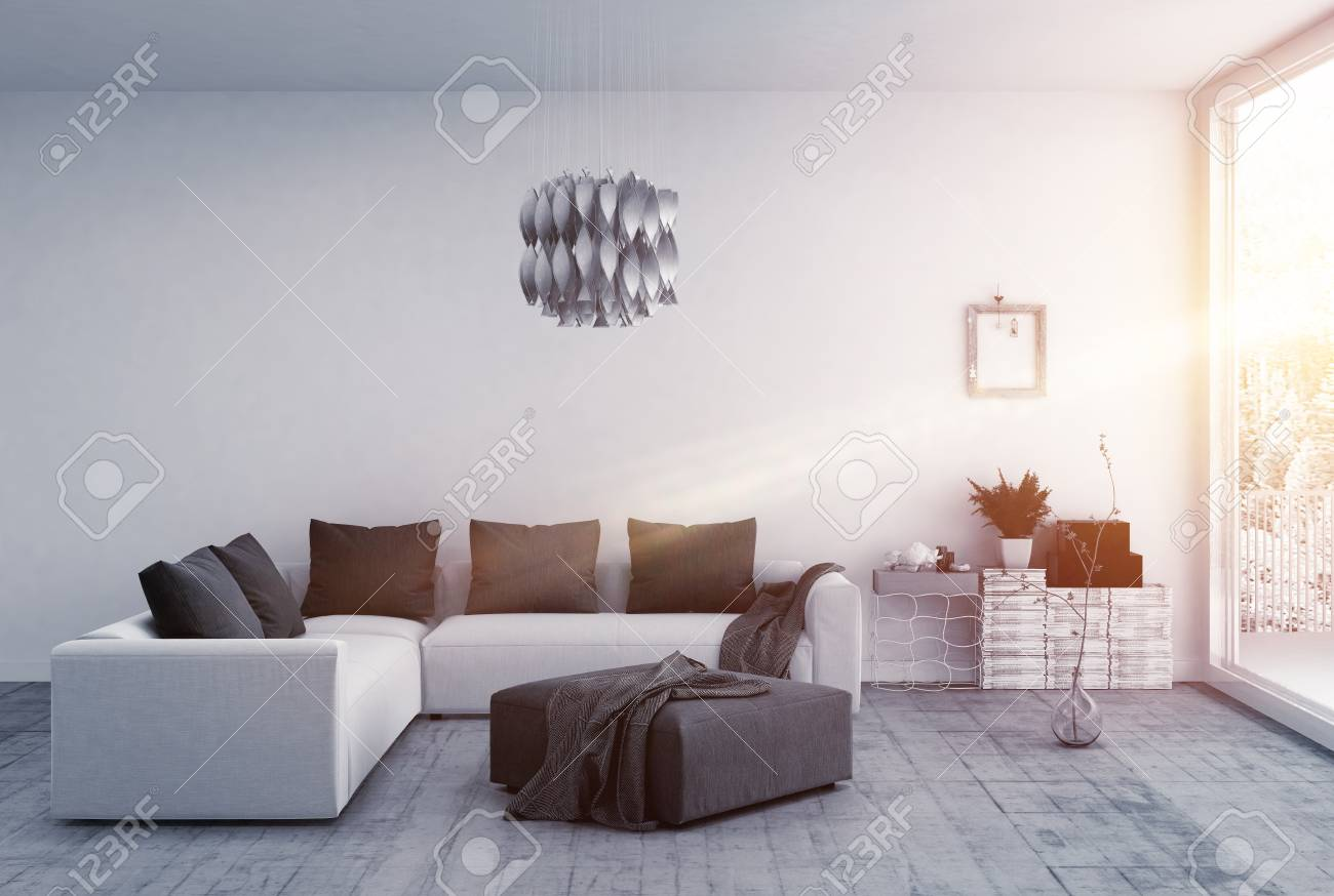 Brilliantly lit room with modern furnishings and a floor to ceiling window stock photo 62734315