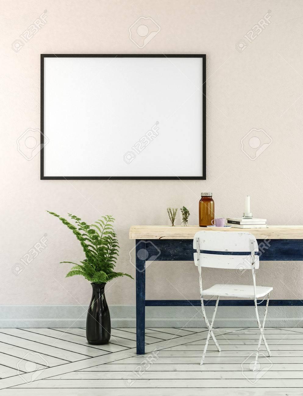 Home Office 3D-Darstellung Mit Topf Farnanlage, Schreibtisch Aus ...